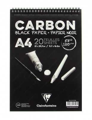 CLAIREFONTAINE - Clairefontaine Carbon Black Paper, Siyah Yapraklı Çizim Defteri, A4 - 120 gr - 20 Yaprak