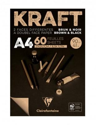 CLAIREFONTAINE - Clairefontaine Carbon Black Paper, Siyah Yapraklı Çizim Defteri, A4 - 90 gr - 41 Yaprak
