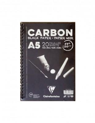 CLAIREFONTAINE - Clairefontaine Carbon Black Paper, Siyah Yapraklı Çizim Defteri, A5 - 120 gr - 20 Yaprak