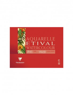CLAIREFONTAINE - Clairefontaine Aquarelle Etival Watercolour Pad,Grain Clasic, A3 - 300 gr - 30 Yaprak