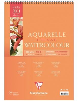 CLAIREFONTAINE - Clairefontaine Aquarelle Etival Watercolour PaperGrain Fin, Cold Press, A3 - 300 gr - 30 Yaprak