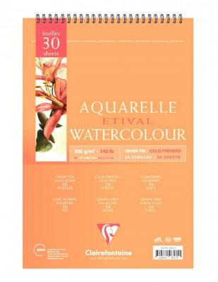 CLAIREFONTAINE - Clairefontaine Aquarelle Etival Watercolour PaperGrain Fin, Cold Press, A4 - 300 gr - 30 Yaprak