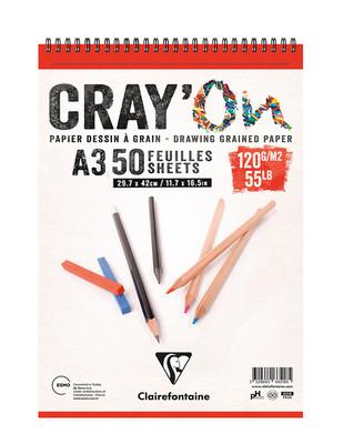CLAIREFONTAINE - Clairefontaine Cray'On Çizim Defteri, Eskiz Defteri - A3 50 Yaprak
