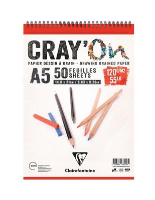 CLAIREFONTAINE - Clairefontaine Cray'On Çizim Defteri, Sipiralli Eskiz Defteri - A5 50 Yaprak