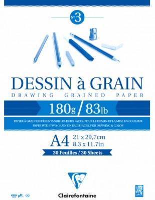 CLAIREFONTAINE - Clairefontaine Dessin A Grain - Dokulu Çizim Bloğu - A4 30 Yaprak