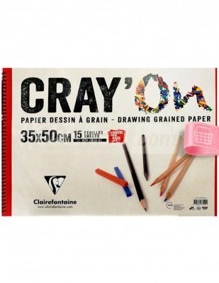 CLAIREFONTAINE - Clairefontaine Cray'On Çizim Defteri, Eskiz Defteri - 35 x 50 cm, 15 Yaprak