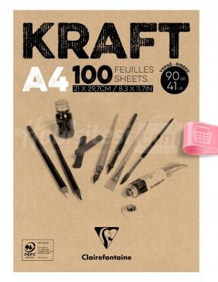 CLAIREFONTAINE - Clairefontaine Kraft - Çizim Bloğu, A4 100 Yaprak