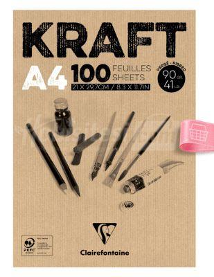 Clairefontaine Kraft - Çizim Bloğu, A4 100 Yaprak