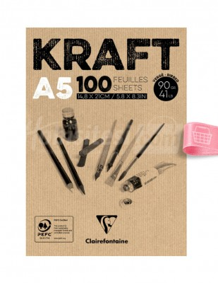 CLAIREFONTAINE - Clairefontaine Kraft - Çizim Bloğu, A5 100 Yaprak
