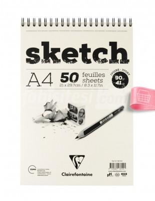 CLAIREFONTAINE - Clairefontaine Sketch - Eskiz Defteri - Ivory A4 50 Yaprak