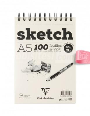 CLAIREFONTAINE - Clairefontaine Sketch - Eskiz Defteri - Ivory A5 100 Yaprak