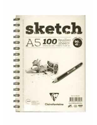 CLAIREFONTAINE - Clairefontaine Sketch Eskiz Spiralli Defter - Ivory A5 100 Yaprak