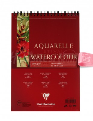 CLAIREFONTAINE - Clairefontaine Sulu Boya Çalışma Defteri, Eskiz Defteri - A4 30 Yaprak