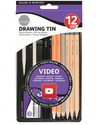 DALER ROWNEY - Daler Rowney Simply Drawing Tin,Metal Kutulu Çizim Seti - 12 Parça