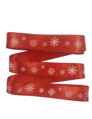 - Dekoratif Saten Kurdele - Kar Tanesi - En 2,5 cm - Kırmızı