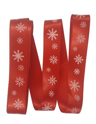 - Dekoratif Saten Kurdele - Kar Tanesi - En 2,5 cm - Kırmızı (1)