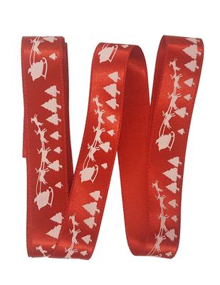 - Dekoratif Saten Kurdele - Geyik Arabası - En 2,5 cm - Kırmızı (1)