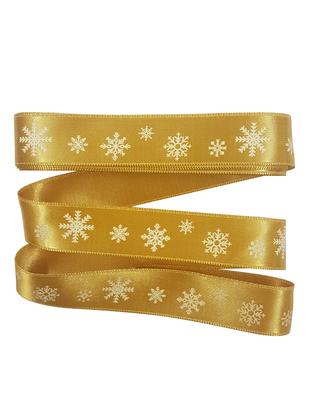 - Dekoratif Saten Kurdele - Kar Tanesi - En 2,5 cm - Gold