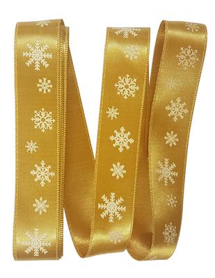 - Dekoratif Saten Kurdele - Kar Tanesi - En 2,5 cm - Gold (1)