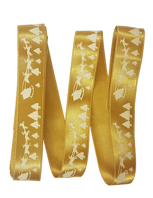 - Dekoratif Saten Kurdele - Geyik Arabası - En 2,5 cm - Gold (1)