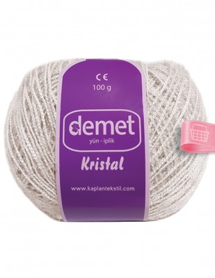 DEMET - Demet Kristal El Örgü İpliği - 100 gr - Krem