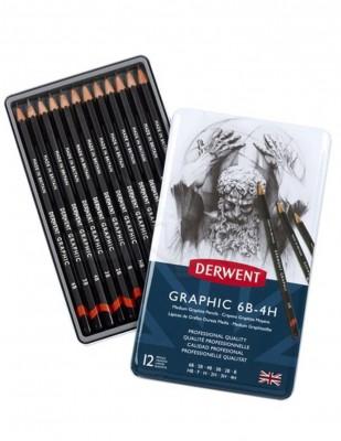 - Derwent Graphic Dereceli Kalem - Medium 12li Set - Metal Kutulu - 6B, 4H
