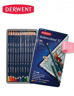 DERWENT - Derwent Watercolour 12, Suda Çözülebilir Kuru Boya Kalem Seti - 12 Renk