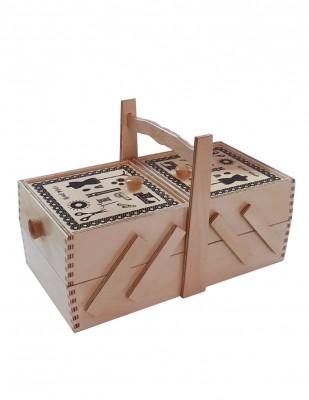 - Ahşap Dikiş Kutusu - 2 Katlı - 14 x 30 x 11 cm