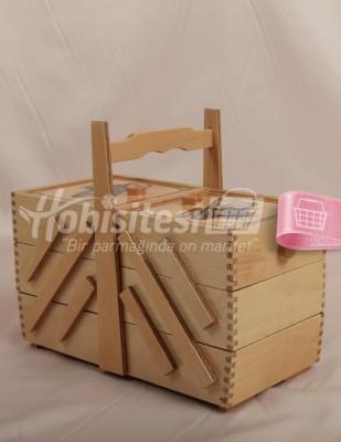 - Ahşap Dikiş Kutusu - 3 Katlı - 15 x 30 x 16 cm (1)