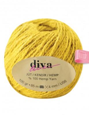 DİVA LINE - Diva Line Jüt İp - Sarı - 100 Gr - 85 m