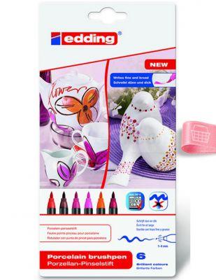 Edding 4200 Porselen Kalem Seti - Fırça Uçlu - 6 Renk - Col.999
