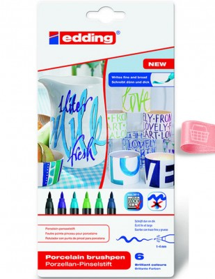 EDDING - Edding 4200 Porselen Kalem Seti - Fırça Uçlu - 6 Renk - Col.099