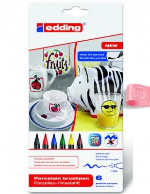 EDDING - Edding 4200 Porselen Kalem Seti - Fırça Uçlu - 6 Renk - Col.000