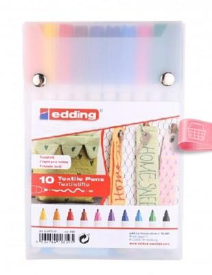 EDDING - Edding 4600 Textile Pens, Kumaş Boyama Kalem Seti - 1 mm Uçlu - 10 Renk