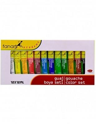FANART - Fanart Academy Guaj Boya Seti - Her Tüp 12 ml - 12 Renk