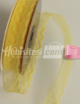 - Fantastic Dantel - Kenar - Limon Sarı - En 2 cm - 25 m