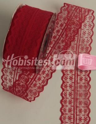 - Fantastic Dantel - Orta - Kırmızı - En 4 cm - 25 m