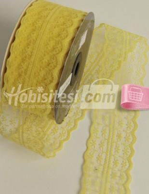 - Fantastic Dantel - Orta - Limon Sarı - En 4 cm - 25 m