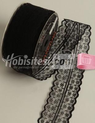 - Fantastic Dantel - Orta - Siyah - En 4 cm - 25 m