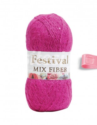 - Festival Mix Fiber El Örgü İplikleri - Fuşya - 100 gr