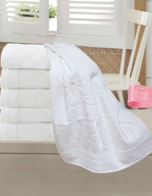 FİESTA - Fiesta İşlemelik Jakarlı Havlu - Büyük Papatya - 50 x 90 - Beyaz