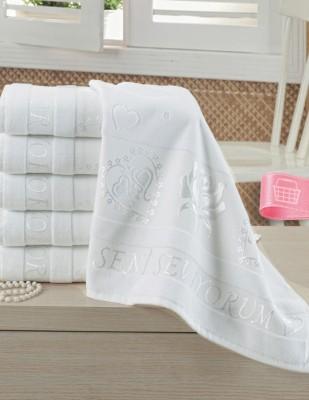 FİESTA - Fiesta İşlemelik Jakarlı Havlu - Seni Seviyorum - 50 x 90 - Beyaz