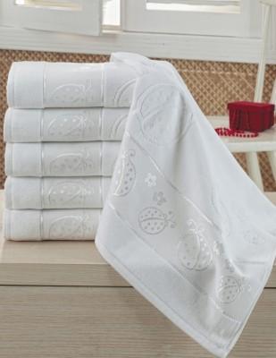 FİESTA - Fiesta İşlemelik Jakarlı Havlu - Uğur Böceği - 50 x 90 - Beyaz