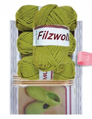 - Filzwolle %100 Yün El Örgü İpliği - Yeşil - 4 Adet Yün / 5 Adet Bambu Şiş