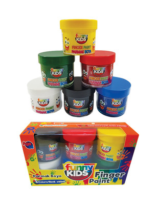 - Funny Kids Finger Paint, Parmak Boya Seti, Her Renk 60 ml - 6 Renk