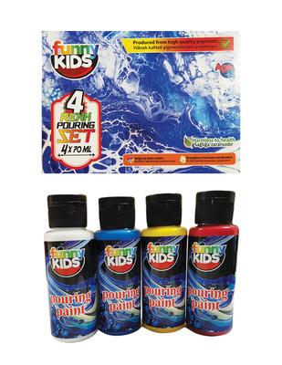 RICH - Funny Kids Pouring Paint, Hazır Akrilik Boya Seti, Her Renk 70 ml - 4 Renk