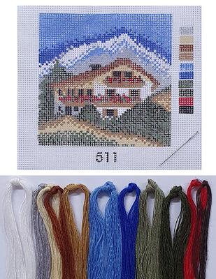 Kanaviçe Kiti, Mini Goblen - Baskılı Etamin, İplikler ve İğne - 8 x 8 cm - 511
