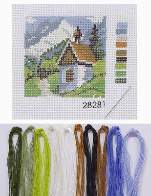 Kanaviçe Kiti, Mini Goblen - Baskılı Etamin, İplikler ve İğne - 8 x 8 cm - 28281