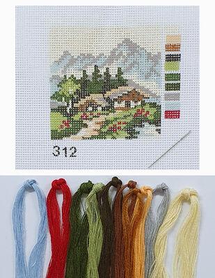 Kanaviçe Kiti, Mini Goblen - Baskılı Etamin, İplikler ve İğne - 8 x 8 cm - 312