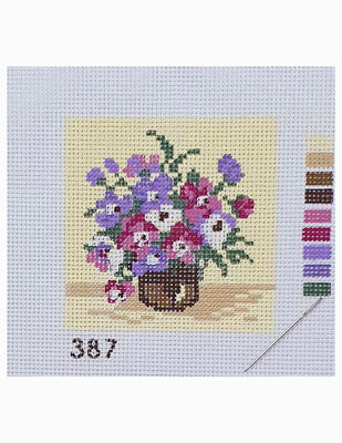 Kanaviçe Kiti, Mini Goblen - Baskılı Etamin, İplikler ve İğne - 8 x 8 cm - 387
